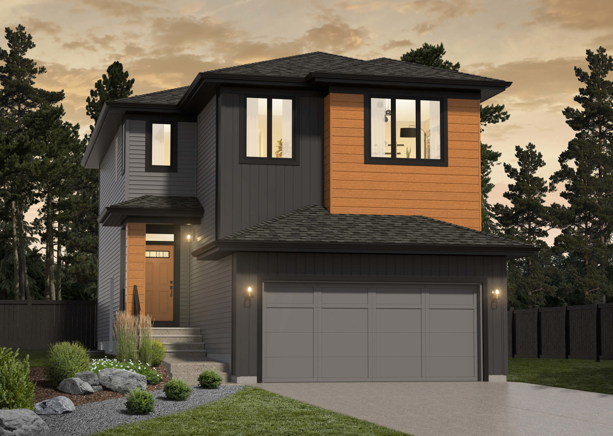 Rendering of the Webster II showhome located in Spruce Grove in the Community of Tonewood